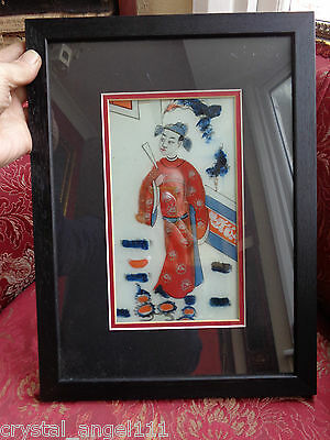 ANTIQUE  19thc  CHINESE RICE PAPER HAND PAINTED MANDARIN LARGE  PAINTING