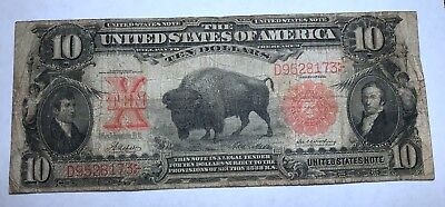 1901 $10 Ten Dollar Bill United States Legal Tender Bison FREE SHIPPING D952KHLM
