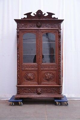 5509029 : Carved Antique French Renaissance Hunt Oak Two Door Bookcase