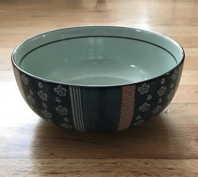 """Vintage 8 1/2"""" Japanese Blue/White Floral Bowl w Flowers/Foot & Signed"""