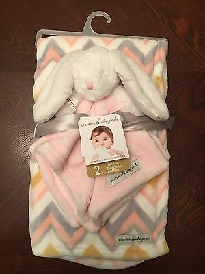 Blankets & Beyond Bunny Rabbit Security Blanket Set Lovey Baby Girl Chevron Nunu