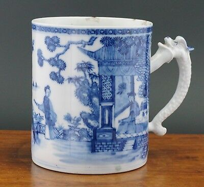 Large Antique Chinese Blue and White Porcelain Figure Dragon Vase Mug Cup 18th C