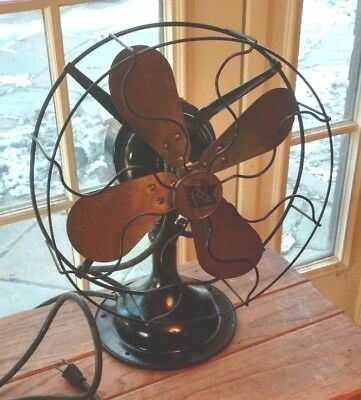 """Vintage Robbins & Myers Fan 12"""" Brass 4 Blade Industrial Oscillating Antique Old"""