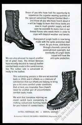 1967 US Army boot & tropical boots photo Hi-Pals Footwear vintage print ad
