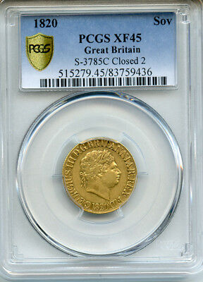 Great Britain 1820 King George Iii Sovereign Gold Rare,pcgs-Xf-45.