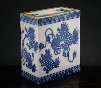 Antique Chinese Blue And White Porcelain Smoking Lion Pillow 19Th/20Th Century