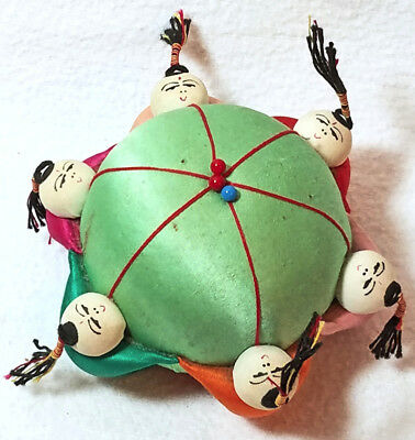 Vintage Oriental Pin Cushion Pink Silk Chinese Japanese Asian Collectible