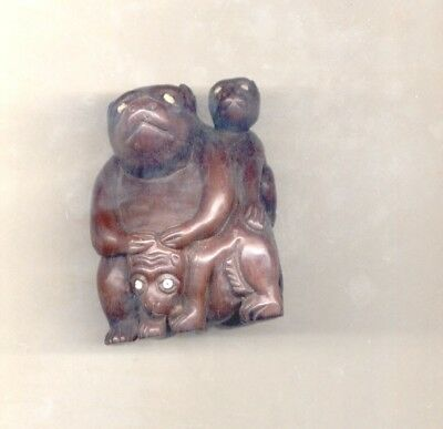 Antique Hand Carved Wood Monkey Family
