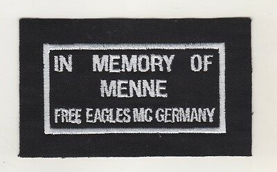 Aufnäher Patches MC Motorrad Club Free Eagles Germany In Memory of Menne