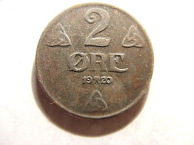 Norway 2 Ore, 1920, IRON ISSUE, XF