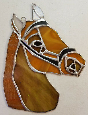 Large Stained Glass Sun Catcher Horse Head Figure Shades of Brown