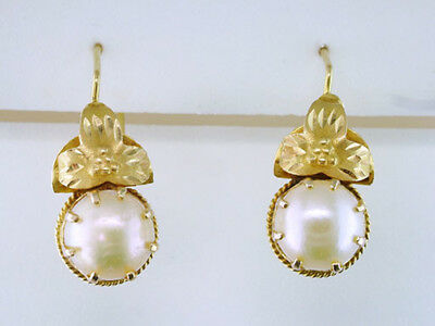 Antique Vintage Victorian Pearl 18K Yellow Gold Earrings