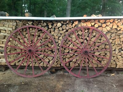 "Pair of 61"" Antique Wood w Metal Band Wheels From Fire Extinguisher or Hose Cart"