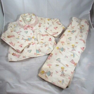 Betty Blue Patty Pink Paper Doll Print Flannel Pajamas Size 4 Greencraft 1950s