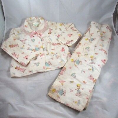 Paper Doll Print Flannel Pajamas Betty Blue Patty Pink Size 4 Greencraft 1950s