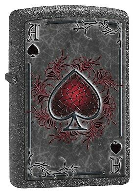 Zippo Lighter: Ace of Spades - Iron Stone 77151