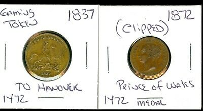 1837 To Hanover Gaming Token - 1872 ( Clipped ) Victoria Prince Of Wales Medal