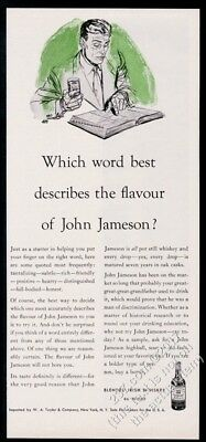 1953 Jameson's Irish Whiskey searching for best word to describe flavor print ad