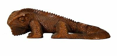 Large Hand Carved Wood KOMODO Dragon Statue Sculpture Exotic Figurine Art Decor