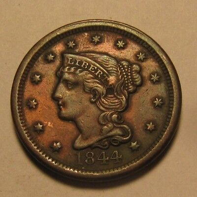 1844 Braided Hair Large Cent Penny - AU Condition Reverse Damage - 63FR