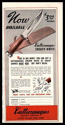 1945 CATTARAUGUS Sheath Knife AD shown w/original price