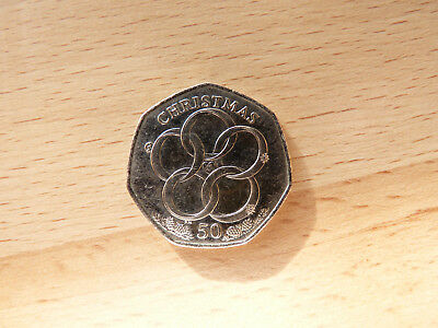 2009  Isle Of Man Five Gold Rings Christmas 50P Coin Bunc