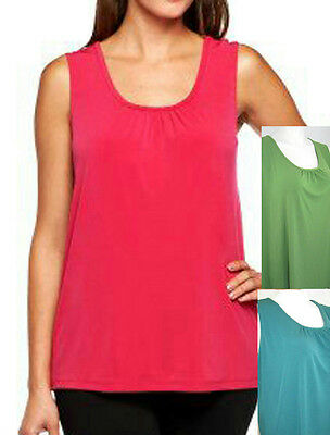 NEW SUSAN GRAVER Liquid Knit SOLID TANK with Shirring at neckline - 209919