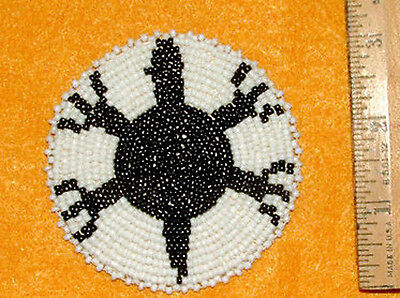 """Large 3"""" Turtle Rosette Beaded  finished on leather backing Replica"""