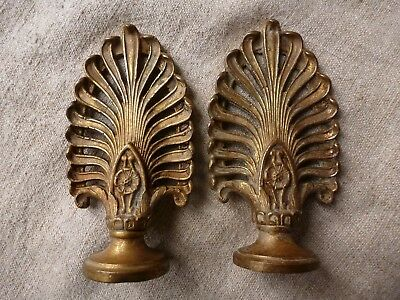 Antique Pair Of French Gilt Bronze Curtain Pole Finials
