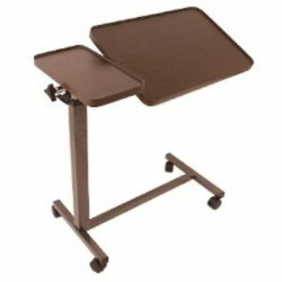 Medical Deluxe Tiltable Overbed Table, Bedside Table W/Tray