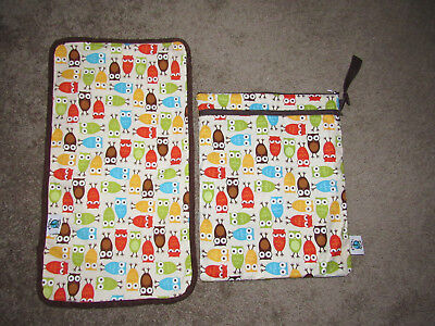 """Planet Wise Owl Print Wet Diaper Bag Double Zip Top 12.5"""" x 16"""" W/ Changing Pad"""