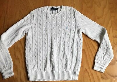 Ralph Lauren  Youth White Cotton Crew Neck Sweater, Size Large