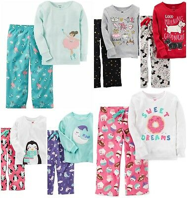 NWT Girls 2pc Carter's Pajamas Scotty Dog Ballerina Penguin Donut 3t 4t 5t