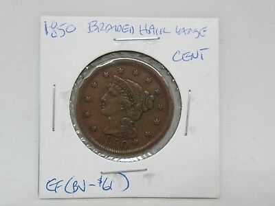 1850 Braided Hair Large Cent - Extra Fine
