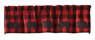 Window Curtain Valance - Buffalo Check Bear by Park Designs - Red Black Applique