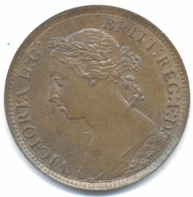 Great Britain farthing 1895 Laureate Head xf-au