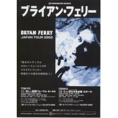 BRYAN FERRY Japan Tour 2002 FLYER Japanese Virgin 2002 Promo Flyer Approx 18 X