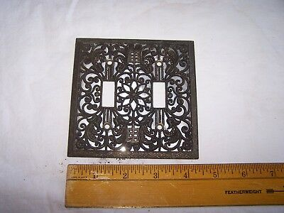Vintage Metal Ornate Fancy LIGHT SWITCH COVER Double - Mid Century