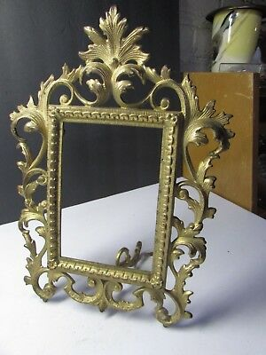 Lovely Vintage Cast Iron Fancy Victorian Picture Frame With Stand