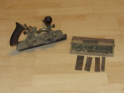 ANTIQUE VINTAGE No. 45 STANLEY COMBINATION PLOW WOOD PLANE WITH CUTTERS IN BOX