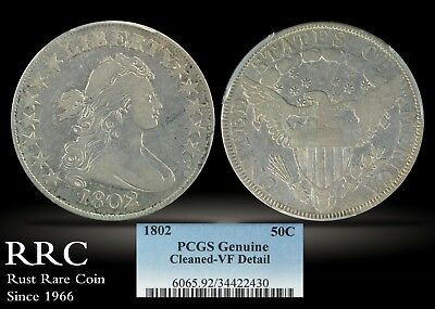 1802 Draped Bust Half Dollar PCGS Genuine VF Detail - Cleaned