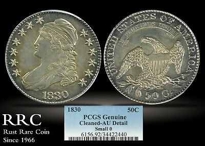 1830 Capped Bust Half Dollar, Small 0 PCGS Genuine AU Detail - Cleaned