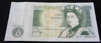Bank of England 1 Pound Note in VF Condition Nice OLD Note!