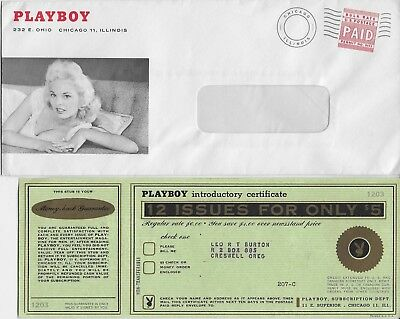 Playboy Magazine    Introductory Offer Certificate W / Envelope
