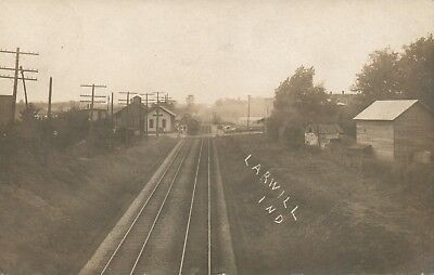 IND RPPC Railroad Scene Larwill Indiana Real Photo Postcard