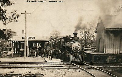 IND RPPC Big Four Railroad Depot Warsaw Indiana Real Photo Postcard