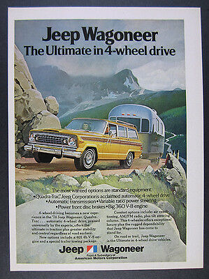 1974 AMC Jeep Wagoneer towing airstream trailer color art vintage print Ad