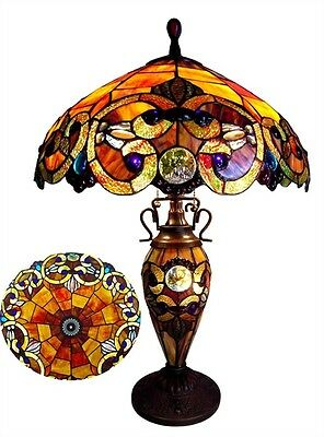 """PAIR 26"""" Tiffany Style Stained Glass Lighted Base Handcrafted Table Lamps"""