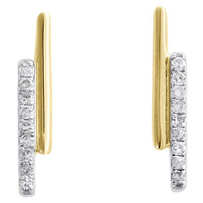 4eb1a1d75 10K Yellow Gold Round Diamond Double Bar Stud Ladies Screw Back Earrings  1/12 Ct