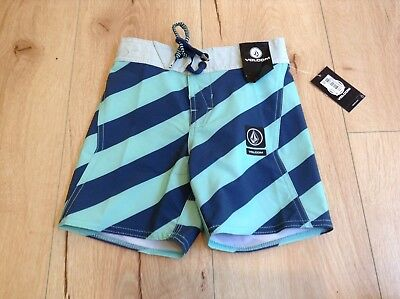 Volcom toddler boys blue striped board shorts, size 4T- NEW